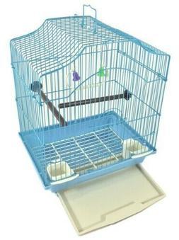 *BIRD CAGE KIT Blue Starter Set Perches Swing Feeders Scallo