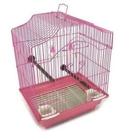 Bird Cage Kit Pink Starter Set Perches Swing Feeders Scallop