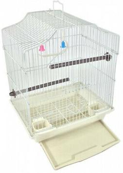 Hanging Bird Cage Kit Set Perches Swing Feeders Scalloped St