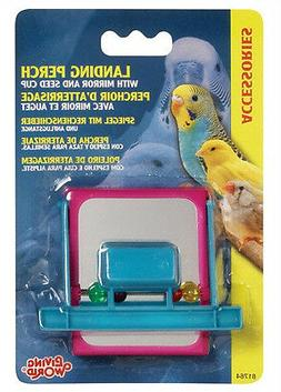 Hagen Living World Bird Cage LANDING SEED CUP PERCH W/MIRROR