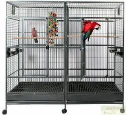 BIRD CAGE Large Black Double Macaw Parrot Slide Out Divider
