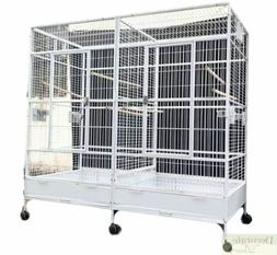 BIRD CAGE Large White Double Macaw Parrot Slide Out Divider