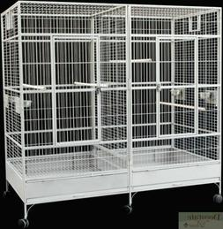 BIRD CAGE Large White Vein Double Macaw Parrot Slide Out Div