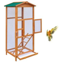 Bird Cage Large Wood Aviary with Metal Grid Flight Cages for
