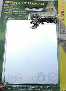 """Bird Cage mirror Stainless Steel 5"""" by 3.5"""" with attaching C"""