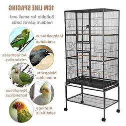 SUNCOO Large Bird Cage for Parrot Budgie Parakeet Cockatoo C