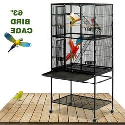 "63"" Large Bird Pet Cage Wooden Bridge Ladder Parrot Cockatie"