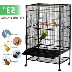 "53"" Metal Large Flight Bird Cage for Parrots Cockatiels Sun"