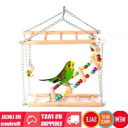 Bird Cage Perches Swings for Parrots Hanging Ladder Toys Cag