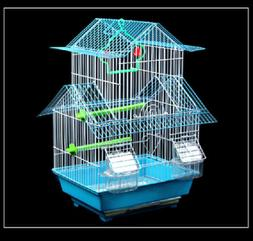 Bird Cage Portable Handle Wire Swing Perch Feeders - Two Sto
