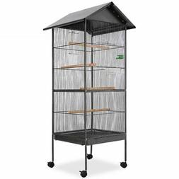 "vidaXL Bird Cage Steel Black 25.9""x 25.9"" x 61"" Bird Houses"