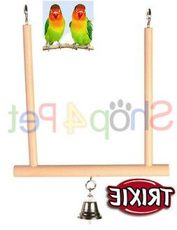 BIRD CAGE SWING TRIXIE WOOD WITH BELL BUDGIE CANARY OR SMALL