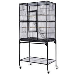 Bird Cage w/ Stand - Black Vein Rectangle Double-deck 30x18x