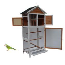 Bird Cage Wooden Cockatiel Parakeet Canary Finch Conure Play