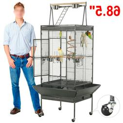 "68"" Large Bird Cages Play Top Parrot Finch Aviary Supplies w"
