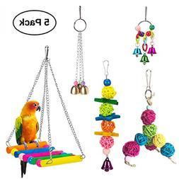 Vehomy Pack of 5 Bird Chewing Toy Bird Hanging Bell Bird Lad