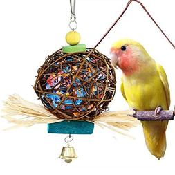 Large Bird Chewing Toys for Parrots Natural Rattan Ball Cage