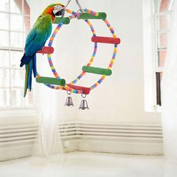 Bird Colorful Wooden Ladder Parrot Macaw Bell Swing Parrot B