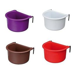 Bird Food Water Feeder Hanging Bowl Cup with Wire Holder for