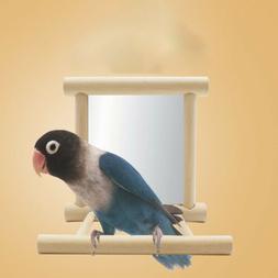 Bird Mirror & Perch Wooden Interactive Bird Toys Budgie Cana