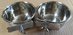 Mcage Lot of 2 Bird Parrot Cage Stainless Steel Seed Water F