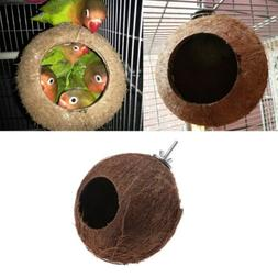 Bird Parrot Finch Nest Natural Coconut Shell Hanging Chain C