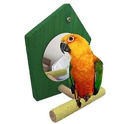 Bird Parrot Mirror Toy with Perch for Parrot Parakeet Budgie