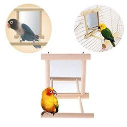 Bird Parrot Mirror Toy with Perch for Parakeet Budgies Cocka