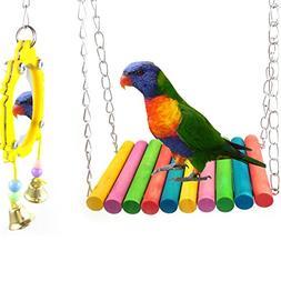 ASOCEA Bird Parrot Swing Toys & Fancy Hanging Mirror Cage Ha