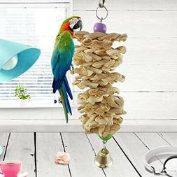 Bird Parrot Toy with Bell Wooden Grass Chewing Bite Hanging