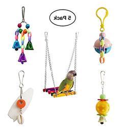 BWOGUE 5pcs Bird Parrot Toys Hanging Bell Pet Bird Cage Hamm