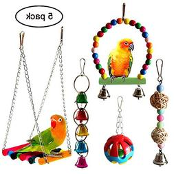 QUMY 5pcs Bird Parrot Toys Hanging Bell Pet Bird Cage Hammoc
