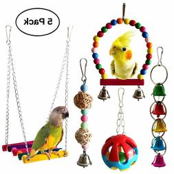 Bird Parrot Toys Hanging Bell Pet Bird Cage Hammock Swing To