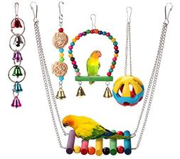 HAPPYTOY 4pcs Bird Parrot Toys Play Set for Bird Cage, Color
