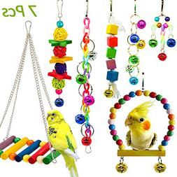Hatisan 7 Pack Bird Parrot Toys, Colorful Bird Chewing Toys