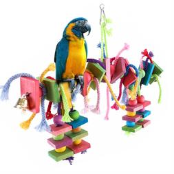 Bird Parrot Toys Swing Chewing Playground Gym Macaw Cockatoo