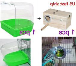 Bird Parrot Wooden Bird Nesting House & Caged Bird Bath Cage