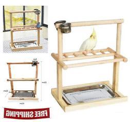 Bird Play Gym Parrot Perch Bird Stand Wooden Center Activity
