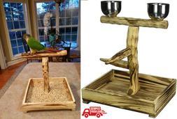Bird Play Gym Parrot Perch Stand Bird Activity Center Wooden