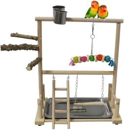 kathson Bird Playground Parrot Perch Stand Toys, Birds Wood