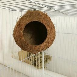 Pet Bird Coconut Shell Nest Parrot Natural Perch Small Anima