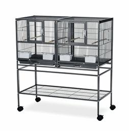 Rolling Divided Breeder Cage Bird Stand Wrought Iron Nesting