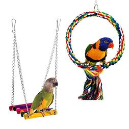RYPET Bird Swing - Wooden Conure Toys Bird Cage Hammock Swin