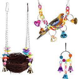 KZHAREEN Bird Swing Toys with Bird's Nest Swing Hanging Bell
