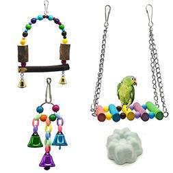 Bird Swing Toys,Bird Hammock Ladder,Wooden Bird Cage Hammock