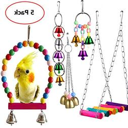 Old Tjikko Bird Swing Toys,Pet Bird Cage Hammock Swing Toy H