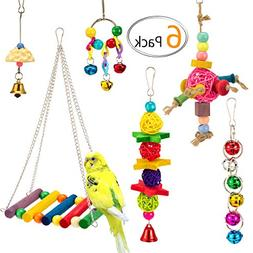 MEWTOGO 6 PCS Bird Swing Toys for Bird Cage - Bird Hammock +