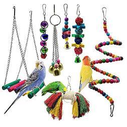 PIVBY 7pcs Bird Swing Toys Parrot Hanging Bell Cage Hammock