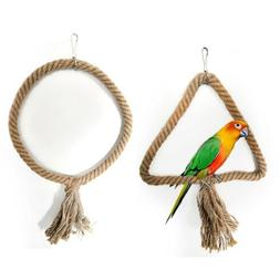 Bird Swing Toys Parrots Chew Hanging Rope Toy Ring Bird Cage