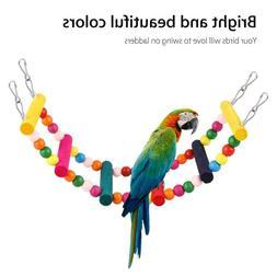 Bird Swing Toys Wood Ladder Bridge Climb Cockatiel Parrot Bu